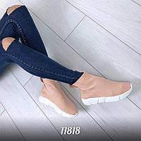 11818  Кроссовки =Balencia_a= высокие , цвет: ПУДРА,  материал :обувной текстиль (резинка) ,подошва - 3 см раз
