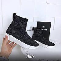 11817  Кроссовки =Balencia_a= высокие ,  цвет: СЕРЫЙ + ЧЕРНЫЙ, подошва - 3 см материал :обувной текстиль (рези