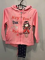 Трикотажный костюм с лосинами для девочки 116 см