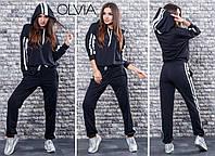 Женский спортивный костюм с лампасами. Кофта с капюшоном и штанами