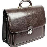 Классический мужской портфель из искусственной кожи 3 отдела, Jurom Польша 0-33-112 коричневый