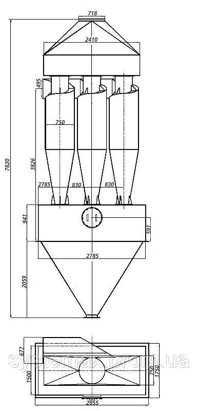 Габаритные и установочные размеры циклона ЦН-15-750х3СП