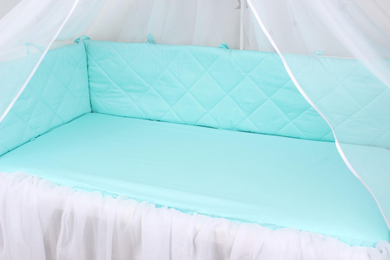 Тонкие бортики защита в кроватку мята
