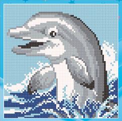 Алмазная живопись Дельфин UA-009 (18 х 18 см) ТМ Алмазная мозаика