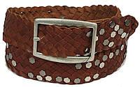 Женский кожаный ремень с заклёпками, Tom Tailor, Германия, 100137 коричневый, 4х113 см