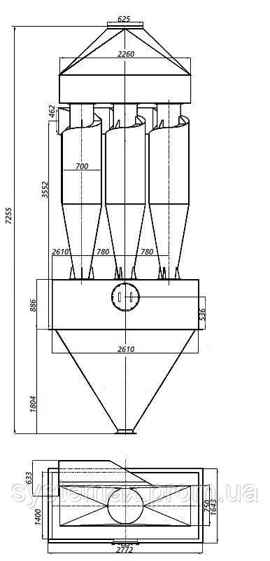 Габаритные и установочные размеры циклона ЦН-15-700х3СП