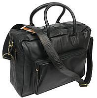 Мужская вместительная сумка-портфель из натуральной кожи Always Wild 0399-8662 черная 41х29х15 см.