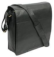 Мужская вместительная сумка c клапаном из натуральной кожи Always Wild 0524-654 черная 34х35х11 см.