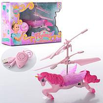 Летающая Лошадка розовая, лошадь летает 12 см, свет, аккумулятор, USB зарядное, 2200B