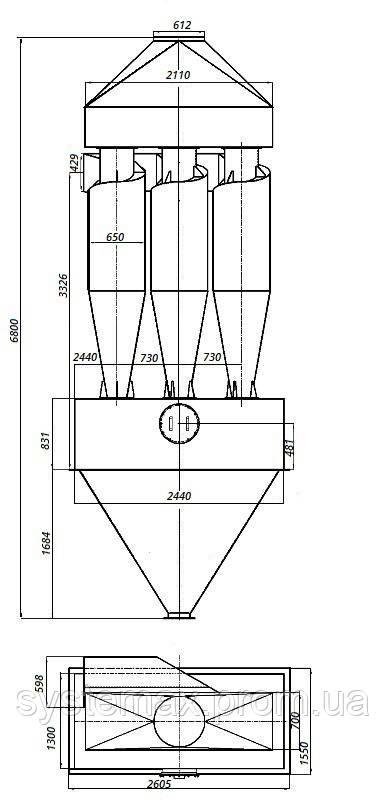Габаритные и установочные размеры циклона ЦН-15-650х3СП