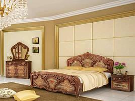 Ліжко з ДСП/МДФ в спальню Реджина 1,6х2,0 з каркасом горіх Миро-Марк