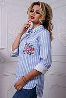 2569/7 Женская рубашка в полоску с вышивкой из льна