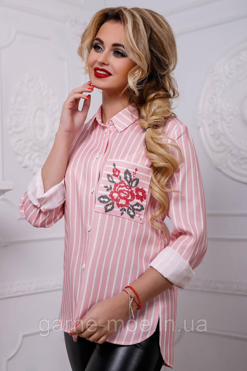 74595ca4103 2568 7 Женская рубашка в полоску с вышивкой из льна  продажа