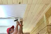 Монтаж вагонки деревянной на потолок с обрешеткой (без лакировки и шлифовки)