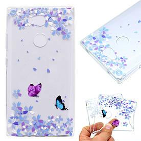 Чехол накладка для Sony Xperia L2 H4311 силиконовый, Бабочки и лепестки