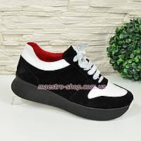 Кроссовки женские на шнуровке, цвет черный/белый