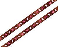 Лента атласная коричневая с сердечками и бантиками 15мм, фото 1