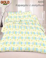 Ткань бязь Голд 147г/м2 - Каракули с голубым