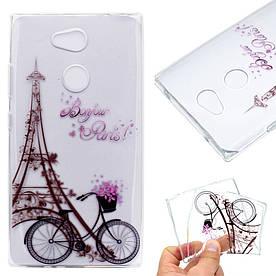 Чехол накладка для Sony Xperia L2 H4311 силиконовый, Эйфелева башня и велосипед