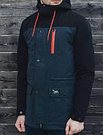 Куртка парка мужская весенняя STF fish-tail navy and black с капюшоном удлиненная (осень-весна, демисезонная)