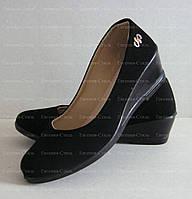 Туфли женские замшевые на танкетке. Размер 36-41. Черные