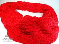 Красный теплый женский шарф - хомут