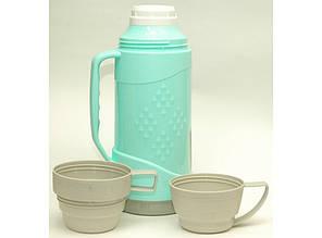 Термос 1л с 2 чашками. Стеклянная колба. T42-4