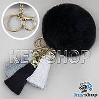 Черный пушистый брелок шарик из натурального меха с кольцом, карабином и разноцветными кисточками на сумку