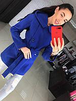 Пальто женское Аделина кашемир синий