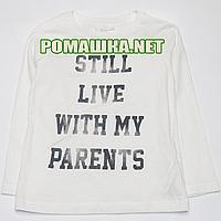 Детский реглан (джепмер, футболка с длинным рукавом) р.104 для мальчика ткань 100% хлопок 1164 Белый