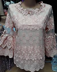 Женская стильная кофта блузка кружевная