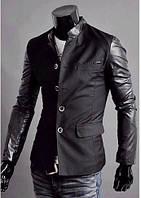 Мужской черный пиджак с кожаными рукавами 44р.