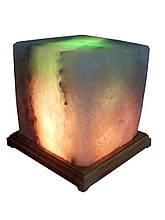 Сольова лампа Квадрат - 9-10кг,Біла,Кольорова лампочка