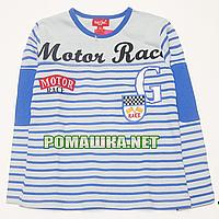 Детский реглан (футболка с длинным рукавом) р. 104-110 для мальчика ткань 100% хлопок 1165 Голубой