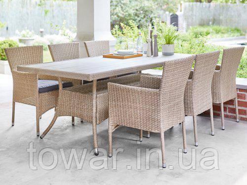 Набори садовой мебели SANDVIG 200см + 6 AIDT,цвет-натура