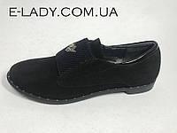 Ботиночки черные женские из натуральной замши на резинках