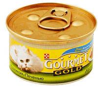 Консерва для кошек  Gourmet Gold (Гурмет Голд) кусочки в подливке c кроликом и печенкой