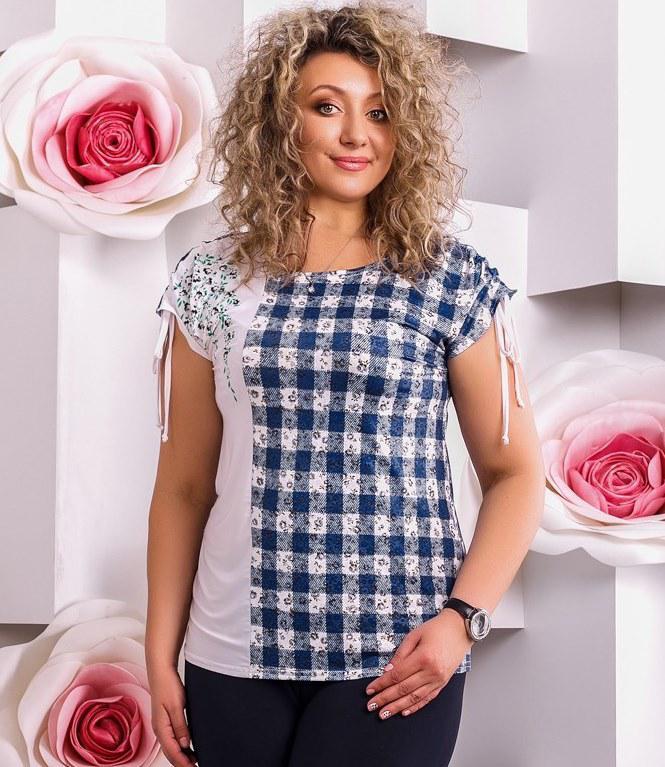 Блуза летняя с клетчатым принтом размеры от XL 3026