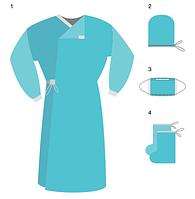 Набор медицинский хирургический стерильный №1 (халат, маска, шапочка-колпак, бахилы высокие)