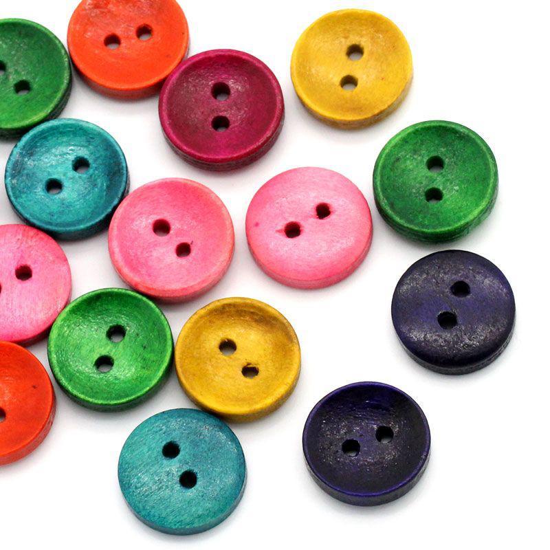 Пуговицы  цветные 15мм. 10шт в наборе