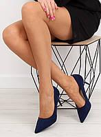 03-19 Синие замшевые женские туфли LEI-90 41,36,37,38,39,40