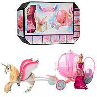 Подарочный набор Карета с лошадью и куклой розовая, лошадь с крыльями, кукла 29 см, 68019