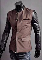 Мужской коричневый пиджак с кожаными рукавами