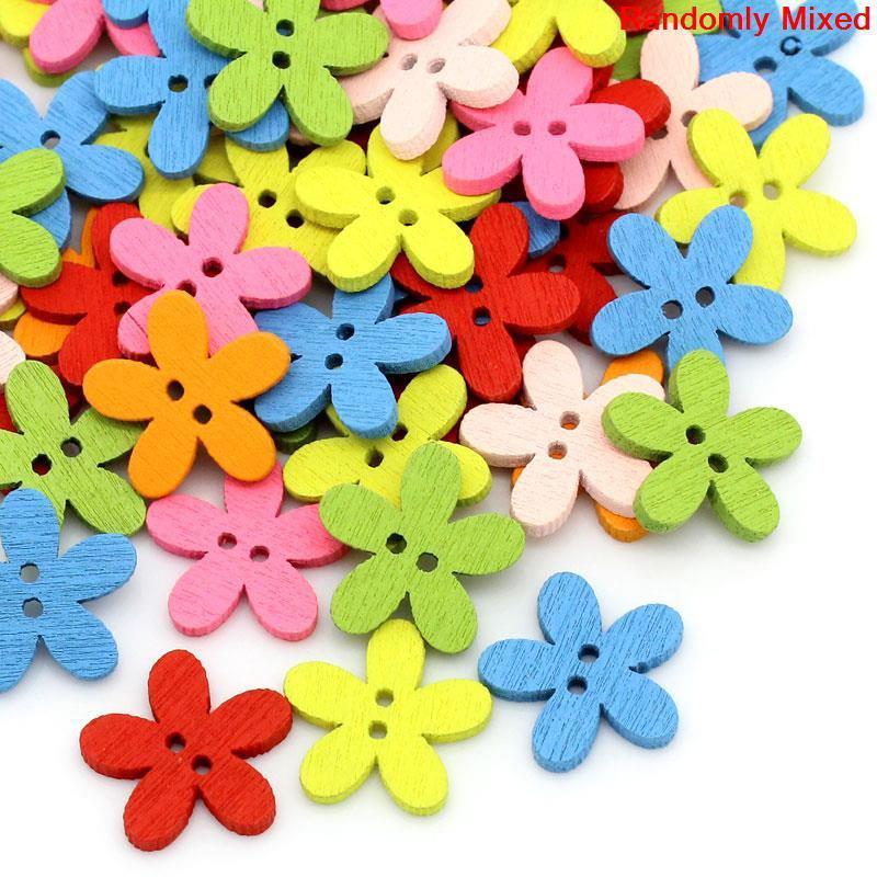 Пуговицы  цветочки 14мм. 20шт в наборе