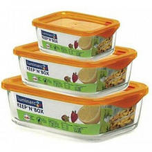 Luminarc Keep'n Box Набір ємностей д/їжі прямокутний з к.оранж. кр.(360мл,370мл,1890 - 3шт.) J5102