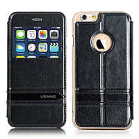 Чехол книжка Usams Window View Leather для Apple iPhone 6 6S 4.7 черный