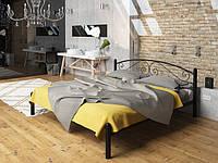 Двуспальная кровать Виола Tenero черная металлическая на ножках c кованным изголовьем