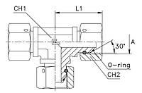 Адаптер-трійник з гайками (з трьох сторін)  DIN24* METR 10L - M16*1,5(Г)