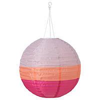 """ИКЕА """"СОЛВИДЕН"""" Подвесной светильник на солнечной батарее, разноцветная сфера, 45 см."""