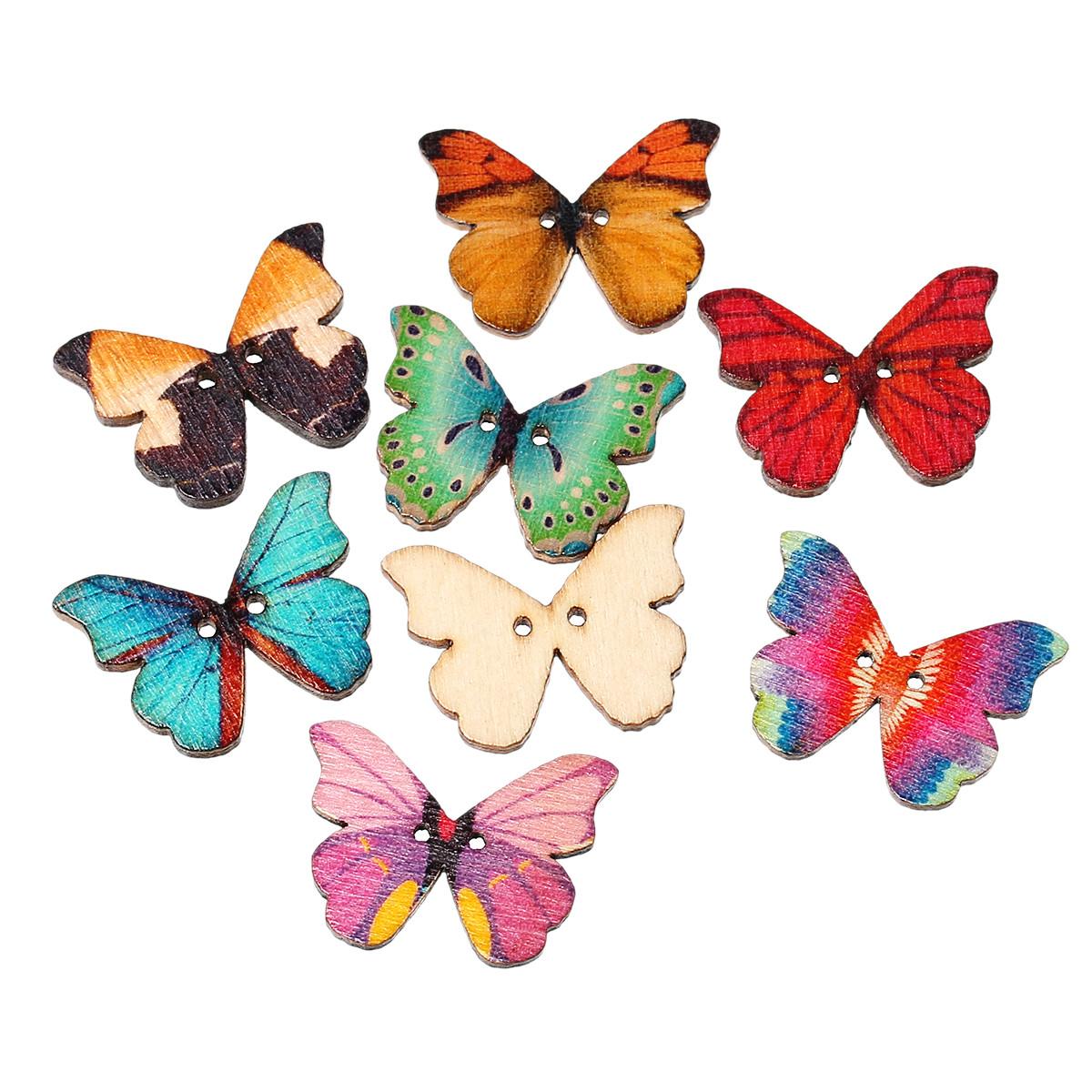 Пуговицы  бабочки 28мм. 10шт в наборе